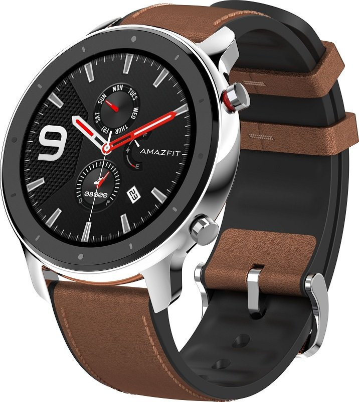 Часы Amazfit GTR 47mm stainless steel case, leather strap (Стальной корпус)