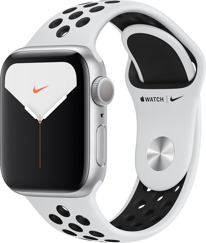 Часы Apple Watch Series 5 40mm Aluminum Case with Nike Sport Band (Ремешок Nike белый силикон)