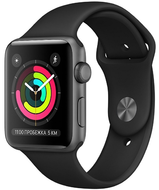 Часы Apple Watch Series 3 42mm Aluminum Case with Sport Band (Space Grey/ Ремешок черный силикон)