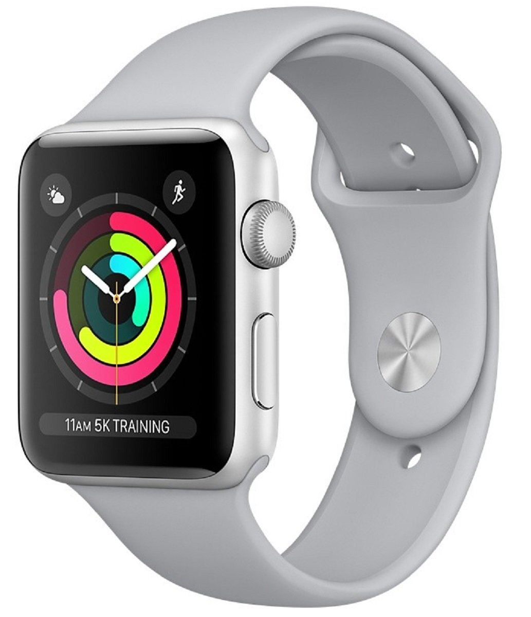 Часы Apple Watch Series 3 42mm Aluminum Case with Sport Band (Silver/ Ремешок белый силикон)