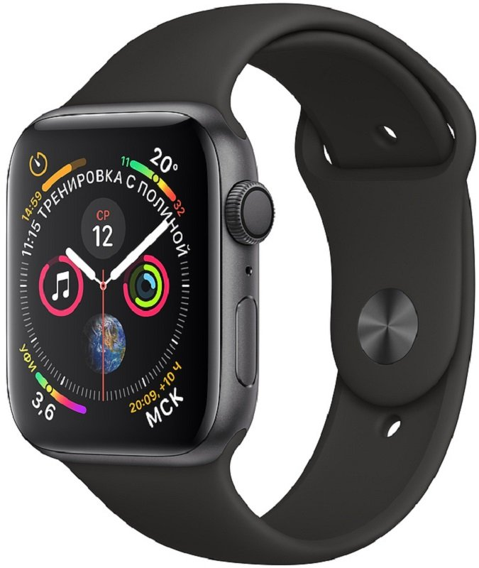Часы Apple Watch Series 4 GPS 44mm Aluminum Case with Sport Loop (Space Gray/ Ремешок черный силикон)